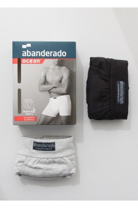 BOXER TALLAS GRANDES ABANDERADO OCEAN A5398 (Pack de 2: Gris/Negro)